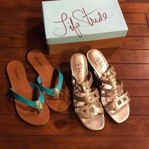 Life Stride gold dress sandals and flip flops 11